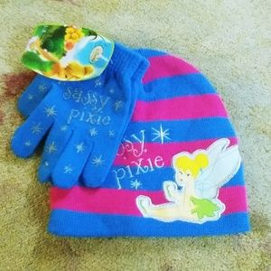 NWT 2 PC DISNEY TINKERBELL PINK BLUE HAT GLOVE SET